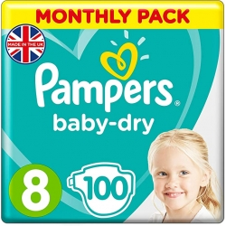 Pampers Baby Dry 8 (17+kg) 100vnt.