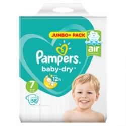 Pampers Baby Dry 7 (15+kg) 58vnt.
